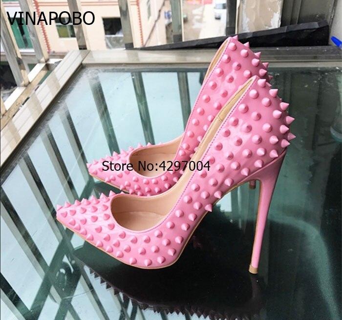 En Femmes Bout Chaussures 12cm Sur Dame Talons Slip Rivet Pointu 8cm Rouge Hauts 10cm Pompes Doux Cuir Stilettos Verni De Clouté Vinapobo Rose Mariage ExzqHz