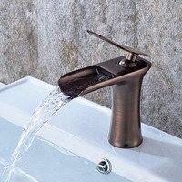 Basin Faucets Waterfall Bathroom Faucet Nickel Brushed Single handle Basin Mixer Tap Bath Faucet Brass Sink Water Crane taps
