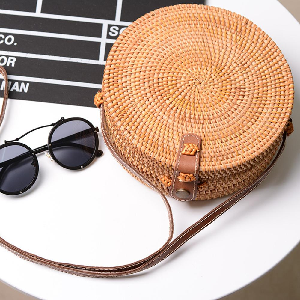 CC Bohemian Handmade Rattan Woven Beach Bag Leather Shoulder Strap Round Hollow Retro Straw Backpack Fashion