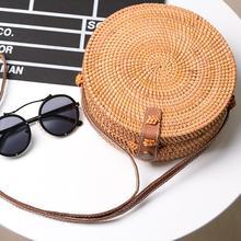 CC богемный ручной работы из ротанга сплетенные пляжная сумка кожа плечевой ремень круглый полые ретро соломы рюкзак дома моды сумка для хранения