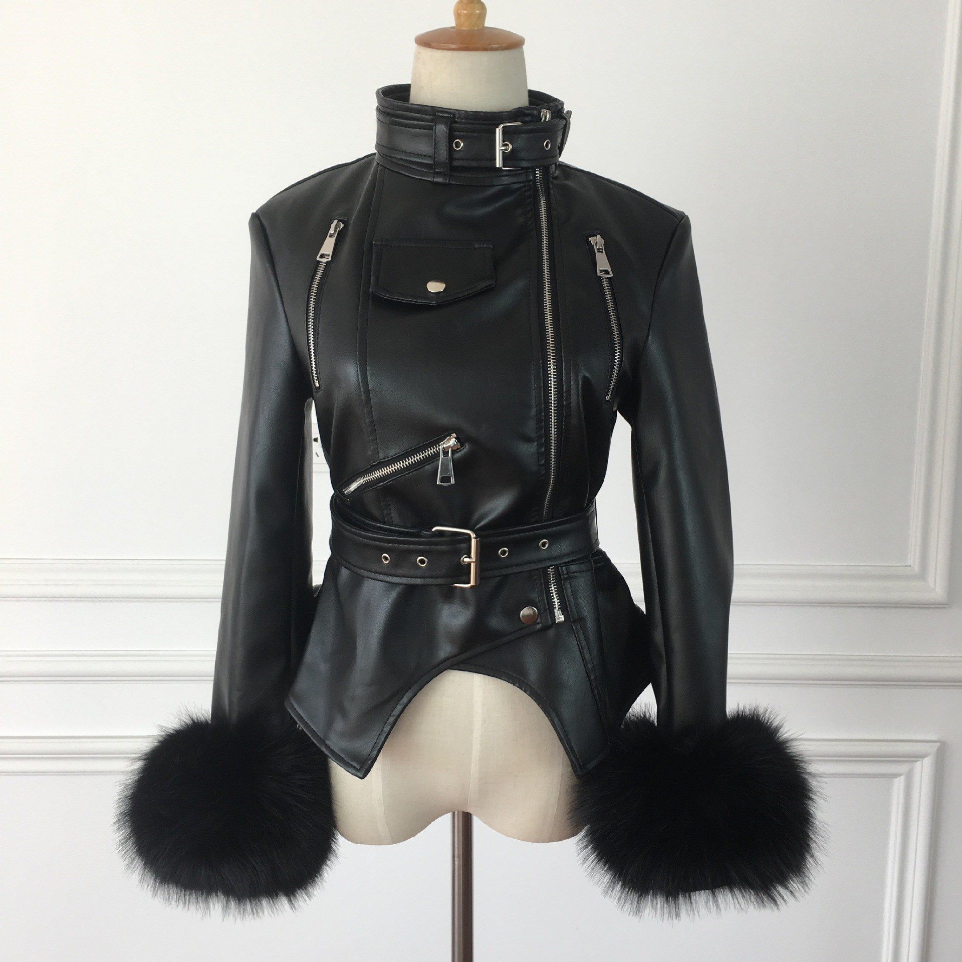 Winter Autumn Gothic Faux   Leather   Coats Casual Fluffy Sleeve Motorcycle Jacket Black Outerwear PU Jacket