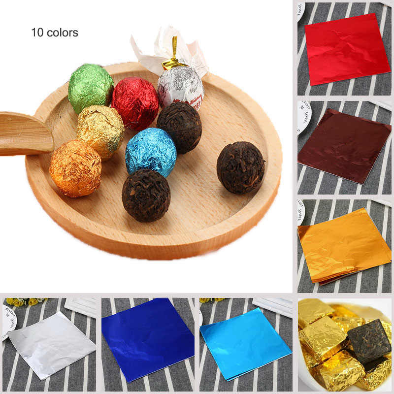 Junejour 100pcs 8*8cm 10 Colors Aluminum Foil Candy Wrapping Paper DIY Chocolate Wrapping Paper Birthday Wedding Candy Packaging