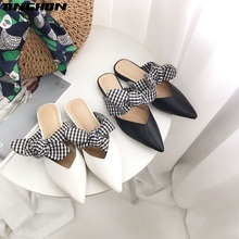 TINGHON Lattice bow Heel Women Mules Patchwork Pointed Toe Pumps Fashion High Elegant Office Shoes