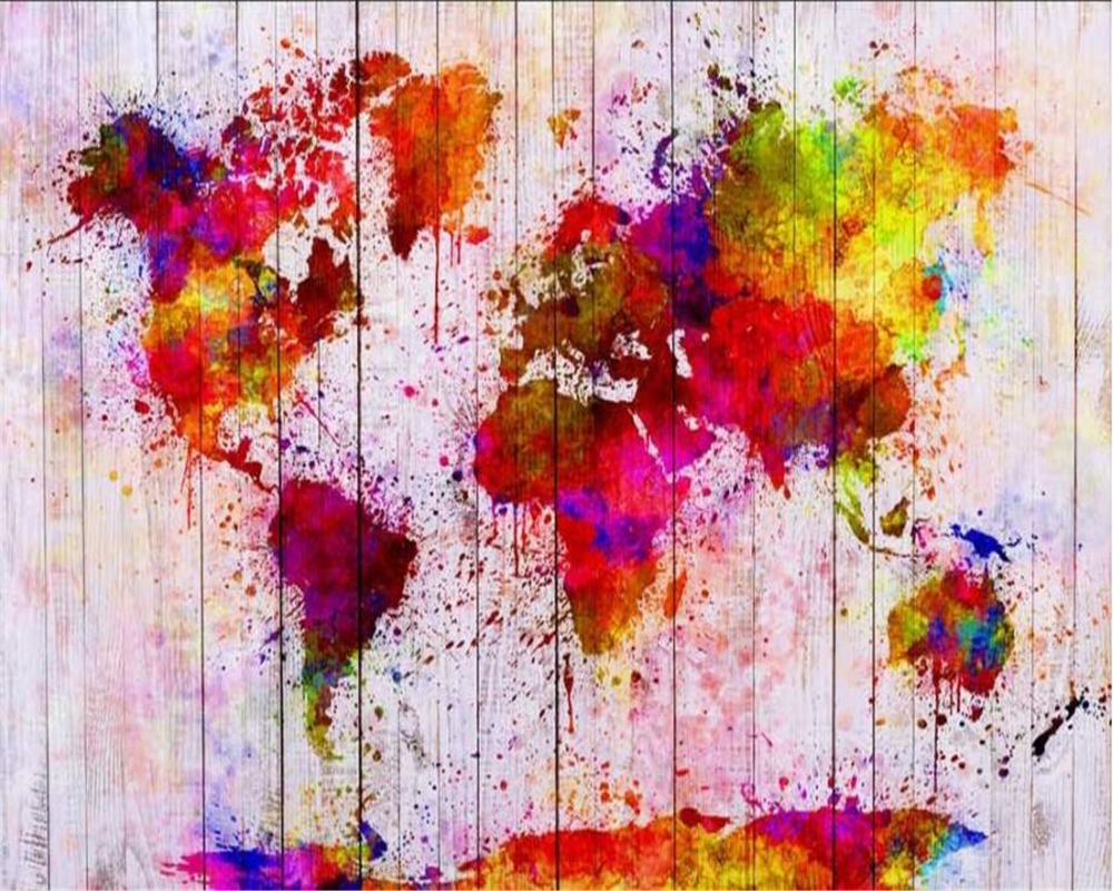 Beibehang custom wallpaper modern simple colorful abstract oil beibehang custom wallpaper modern simple colorful abstract oil painting world map background decorative painting 3d wallpaper in wallpapers from home gumiabroncs Gallery