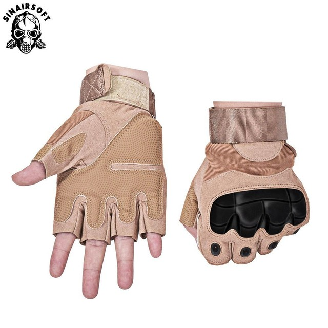 SINAIRSOFT Tactical Fingerless Gloves Military Army Paintball Airsoft Bicycle Motocross Combat Hard Knuckle Half Finger Gloves Thai boxing gloves