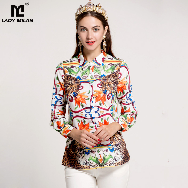 New Arrival 2018 Womens Turn Down Collar Long Sleeves Animals Printed Fashion Runway Shirts