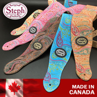 Steph Handmade PAY 2205 Paisley Genuine Leather Guitar Strap Made In Canada