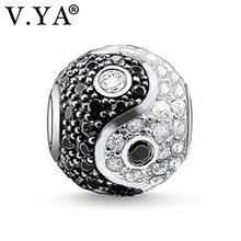 Unique Zircon Beads Yin&Yang Beads Charms fit Pandora Charm Necklace Bracelet for Women Men Jewelry Accessories TZ202(China)