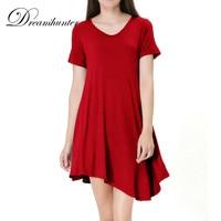 Irregular V Neck T Shirts For Women Red Army Green Short Sleeve Oversize TEE Tops Summer