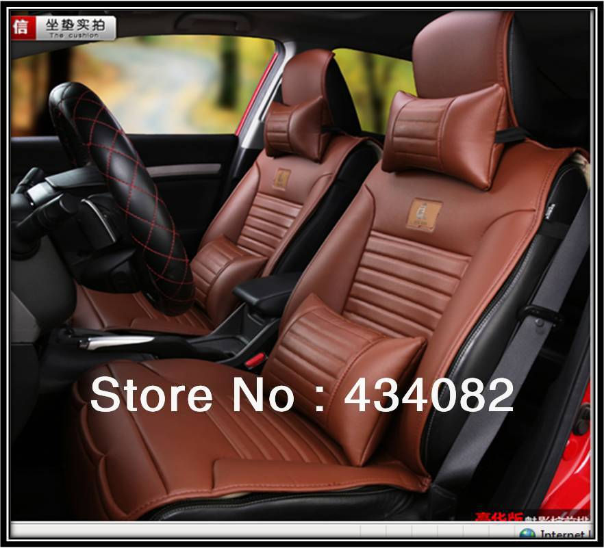 Front And Bench Set Half Packing Soft Leather Car Seat Cover For 5 Universal CarsBlack Buff Brown Color In Automobiles Covers