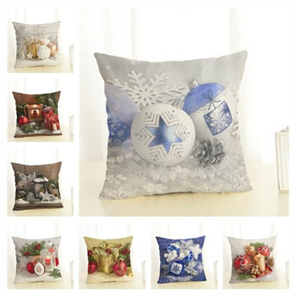Square Pillow Case Christmas Gift Pattern Pillow Case Christmas Home Decorative J2Y