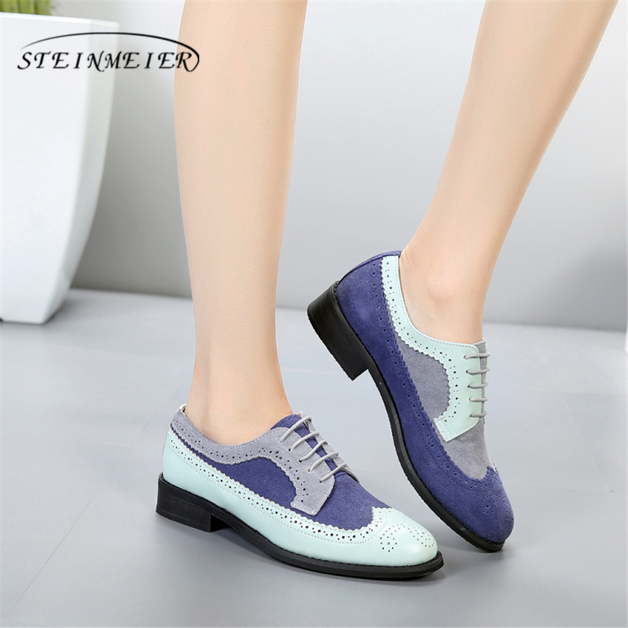 Genuine cow leather brogue designer vintage ladies flats shoes handmade blue grey oxford shoes for women 2018 with fur