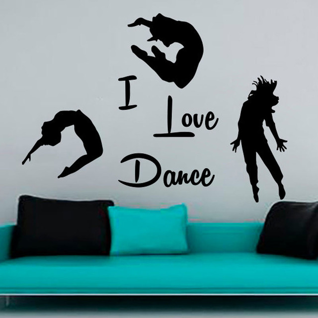 Great I Love Dance Wall Stickers PVC Removable Home Decor DIY Three Dancers Decals  For Living Room