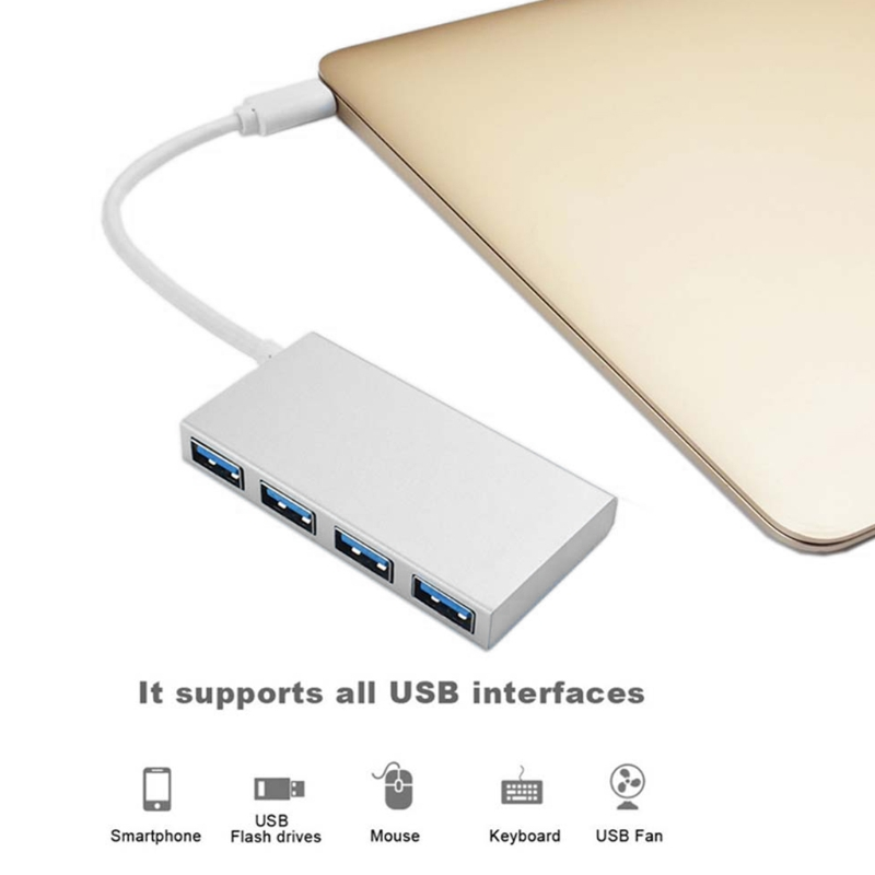 4 Port Aluminum HUB USB 3.1 Type C 4Ports USB 3.0 Hub for MacBook Chromebook Pixelbook Samsung S9 S8