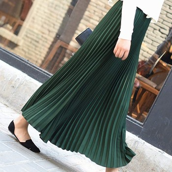 Autumn Fashion Long Pleated Skirt Womens European Style Solid Elegant Midi Elastic Waist Skirt Droppship 10 Colors Freeship 4