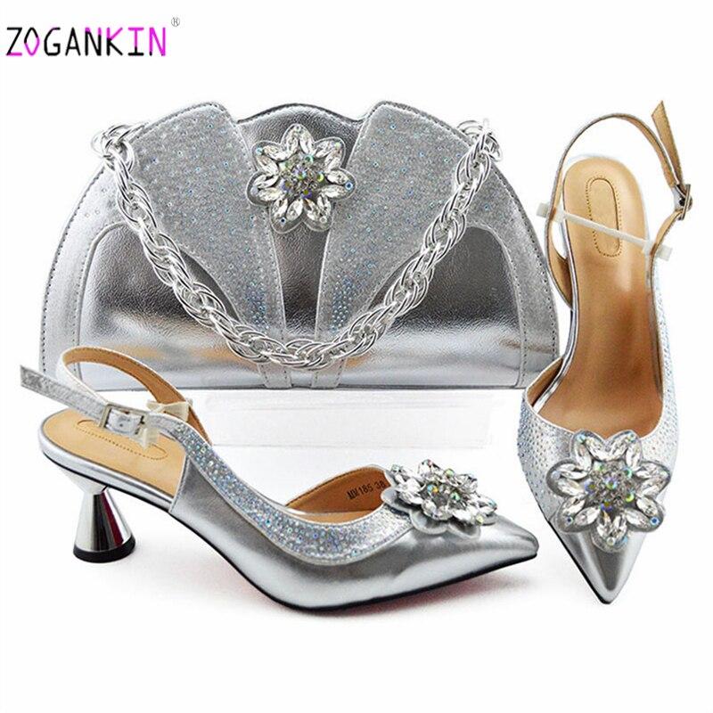 2019 mode conception africaine chaussures à talons hauts et sac pour correspondre aux chaussures africaines et sac ensemble en argent dames chaussures de fête et sac