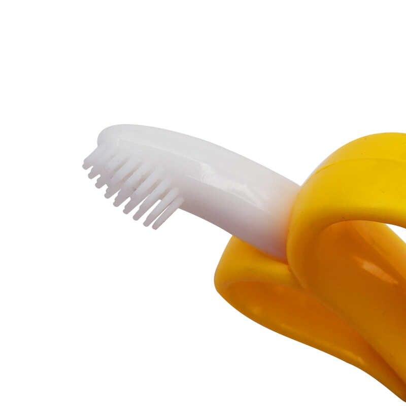 Mordedor de silicona de bebé seguro entrenamiento cepillo de dientes BPA libre Banana maíz Toddle mordedor juguetes para niños masticando regalos de recién nacidos