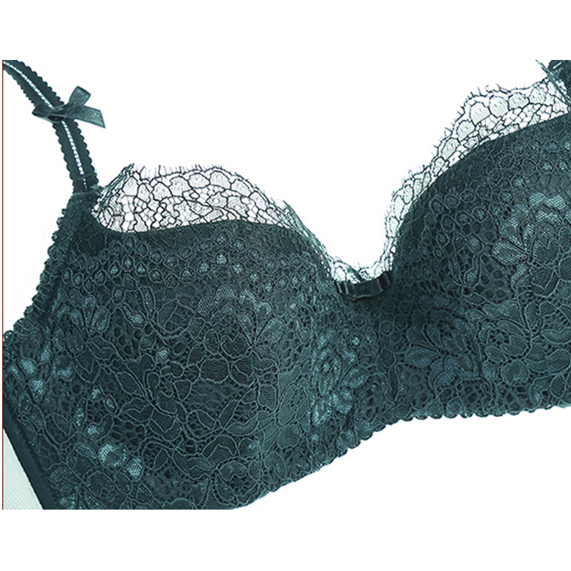 Luxury Women push up bra set thin cotton brassiere lace underwear set push size green sexy bra panty sets lingerie 2