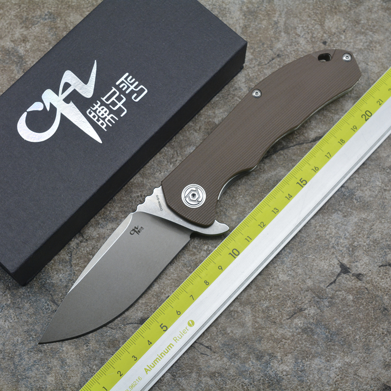 CH3504-G10 Flipper folding knife D2 blade ball bearing G0 + steel handle camping hunting pocket knife EDC tools ch ch3504 g10flippe original folding knife d2 blade ball bearing g10 steel handle hunting knife outdoor survival knife edc