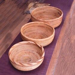 Cesta de almacenamiento redonda de ratán de frutas para tejer hecha a mano para comida de cocina Picnic pan artículos de decoración contenedor organizador