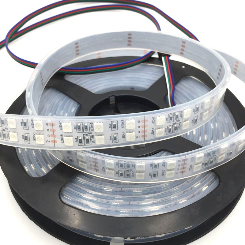 EXPRESS 100 PCS 5050 Waterproof RGB 5M 600 led Double Row 5050 Waterproof RGB LED Strip with 1m wire