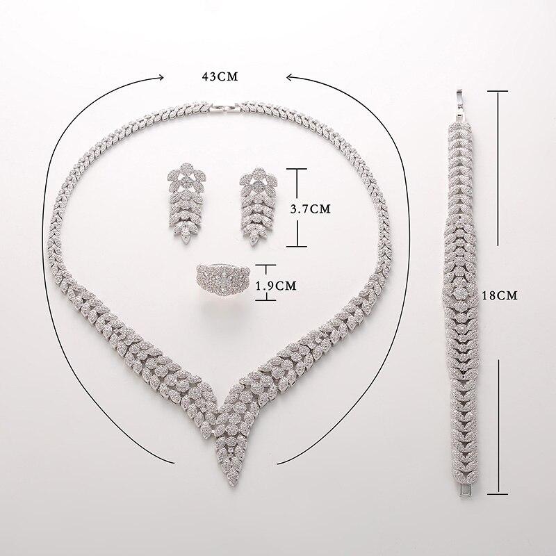 Hadiyana2018 หรูหราเจ้าสาวงานแต่งงานชุดเครื่องประดับ Shiny Zircon สร้อยคอต่างหูสร้อยข้อมือแหวนชุดผู้หญิง TZ8088-ใน ชุดอัญมณี จาก อัญมณีและเครื่องประดับ บน   3