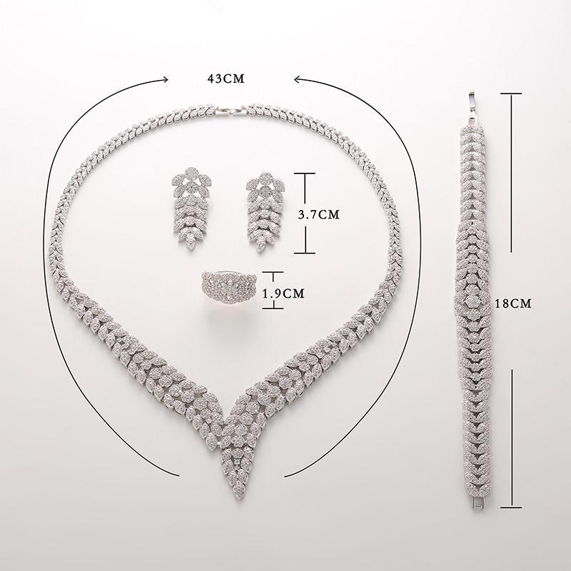 Hadiyana2018 luksusowe Bridal zaręczyny biżuteria ślubna zestaw błyszczące naszyjnik cyrkoniowy kolczyki bransoletka pierścień zestawy dla kobiet TZ8088 w Zestawy biżuterii od Biżuteria i akcesoria na  Grupa 3