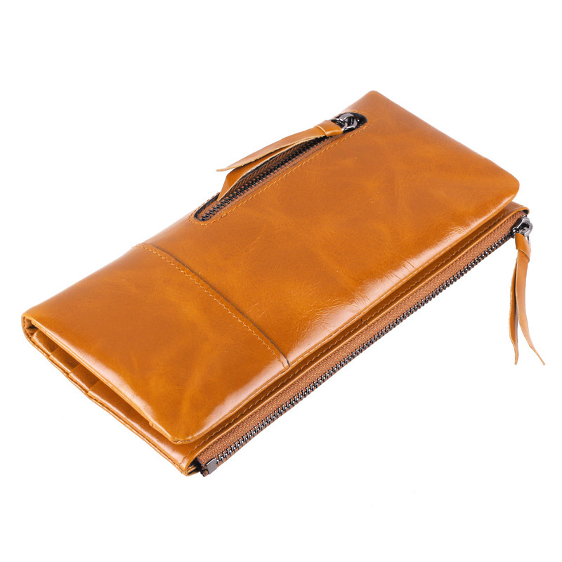 2017 New Fashion Oil Wax Genuine Leather Cowhide Women Wallet  Zipper Long Design Wallets Lady Coin Purse Clutch Bags 6 Colours 2017 genuine cowhide leather brand women wallet short design lady small coin purse mini clutch cartera high quality