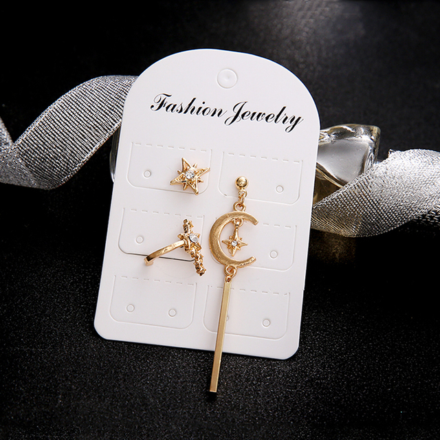 3 Pcs Set Boho Star Moon Vertical Bar Crystal Pendant Earrings Women Charm Party Gold Earrings.jpg 640x640 - 3 Pcs/ Set Boho Star Moon Vertical Bar Crystal Pendant Earrings Women Charm Party Gold Earrings Set Combination Valentines Gift