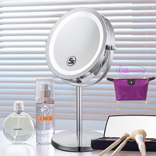 6 Inch 5x Magnification Cosmetic Makeup Mirror Round Shape 2Sided Rotating Magnifier Mirror LED Light Makeup