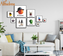 ALMUDENA Fashion 1 Pieces 17 Styles Abstract Fruit Vegetables Animals Creative Paintings Kitchen and Kids Room Wall Art Posters