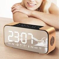 Portable Mirror Bluetooth Speaker TF Card FM Radio BT4 2 Time Alarm Clock AUX In Mp3