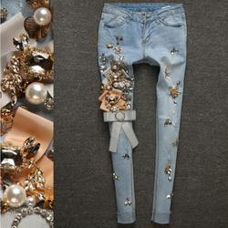 Весна осень стрейч тонкий деним карандаш тонкий эластичный Дамская Мода Тощий роскошный бисер алмаз рваные джинсы