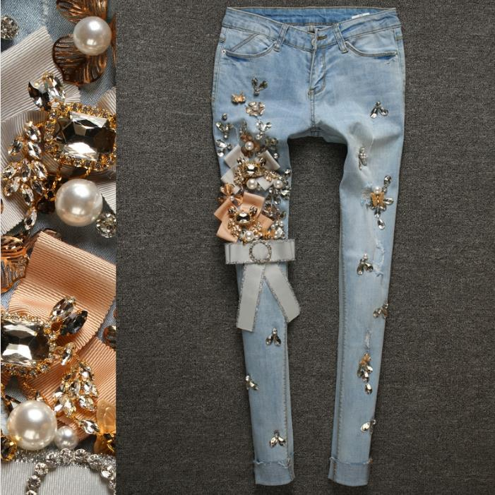 Spring Autumn Stretch Thin Denim Pencil Slim Elastic Ladies Fashion Skinny Luxury Beading Diamond Ripped Jeans
