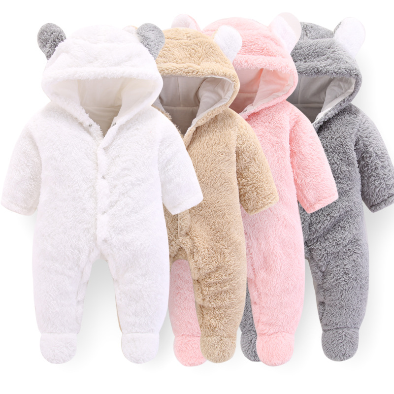 Soft Babies Newborn Baby Clothes Bear Baby Girl Boy   Romper   Coral Fleece Warm Hooded Plush Jumpsuit Animal Overall Winter Costume
