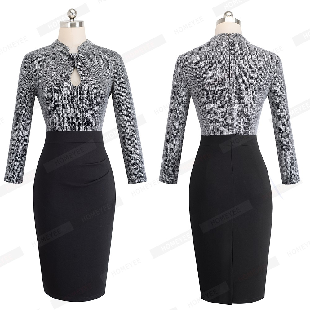 Elegant Work Office Business Drapped Contrasting Bodycon Slim Pencil Lady Dress Women Sexy Front Key Hole Summer Dress EB430 8