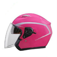 Motorcycle Street Bike Glossy Black open Face Helmet + Two Visors: Smoked & Clear pink color for women and men moto helmet