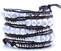Fashion white natural stone beads Wrap Bracelet with silver beaded handmade Leather chain Wrap Bracelet Jewelry-Free Shipping