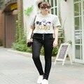 Nuevos pantalones vaqueros de las mujeres más el tamaño de Algodón denim pantalones Femeninos de cintura Alta pantalones lápiz regulares pantalones estudiantiles Negro blanco HS1612