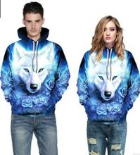 2019 harajuku hoodies Wolf 3D Digital Print oversized  Sports Breathable Men and Women hoodie Pull