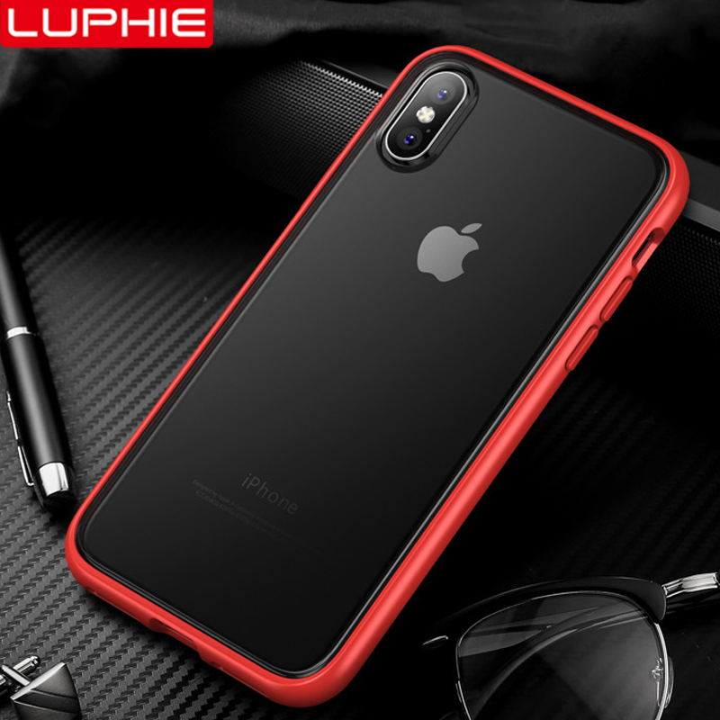 LUPHIE Luxury Business Case For iPhone X XS Max XR 8 7 6 6S Shockproof Case Cover For iPhone 7 8 6S Plus Matte Cases TPU Bumper