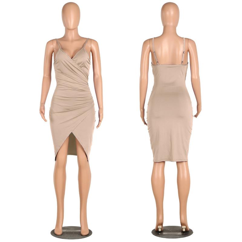 sexy deep v neck spaghetti strap dress-11