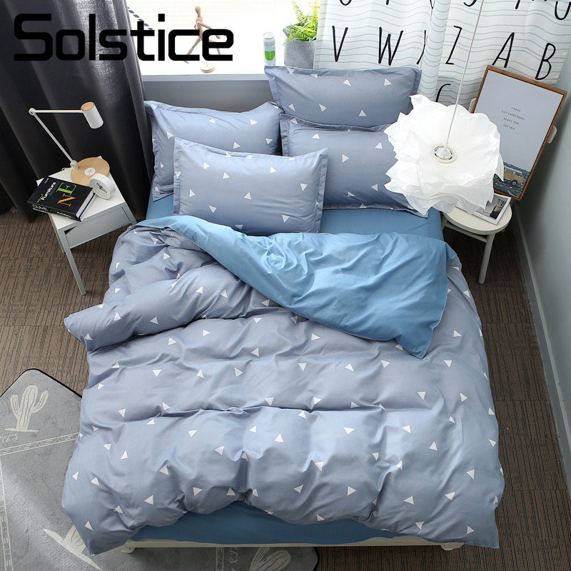 Solstice Home Textile Brief Triangle Gray Blue Duvet Cover Pillowcase Bed Sheet Boy Teen Adult Girls Bedding Set King Full Linen