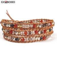 Go2boho Wielowarstwowa Mix Kolorowe Koralik Bransoletka Kobiety Biżuteria Leather Wrap Bransoletki Przyjaźni Prezent Naturalny Kamień Handmade Weave