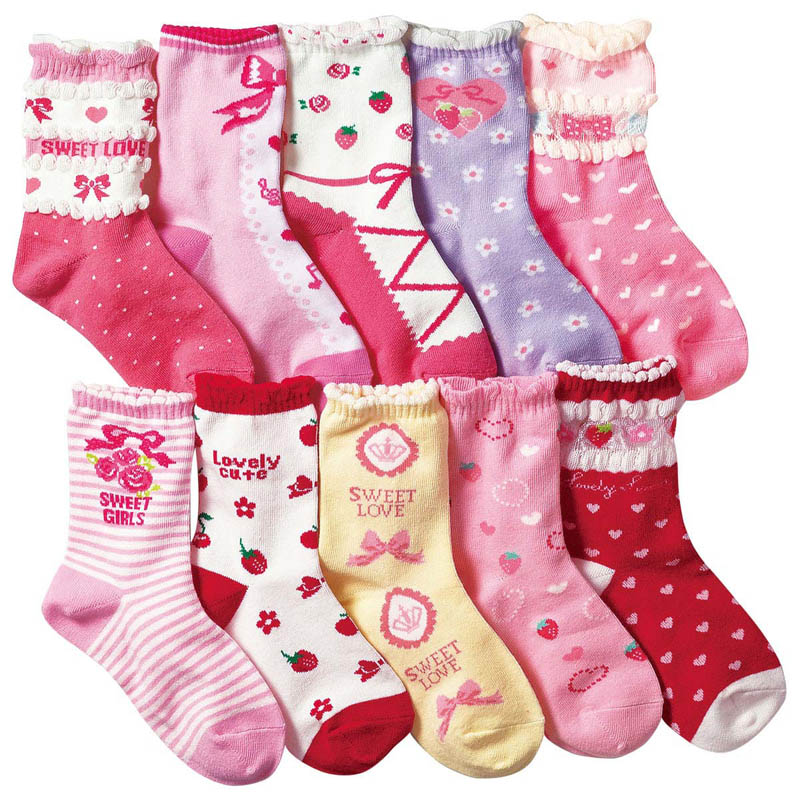 10 Pairs/lot  4-12 Years Girls Socks Cartoon Floral Children Kids Socks Cotton High Quality