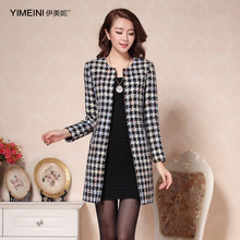 2016 Women's Tweed Jacket Slim Small Fragrant Wind In Winter Wool Coat For Women Long Paragraph Outerwear High Quality Clothes