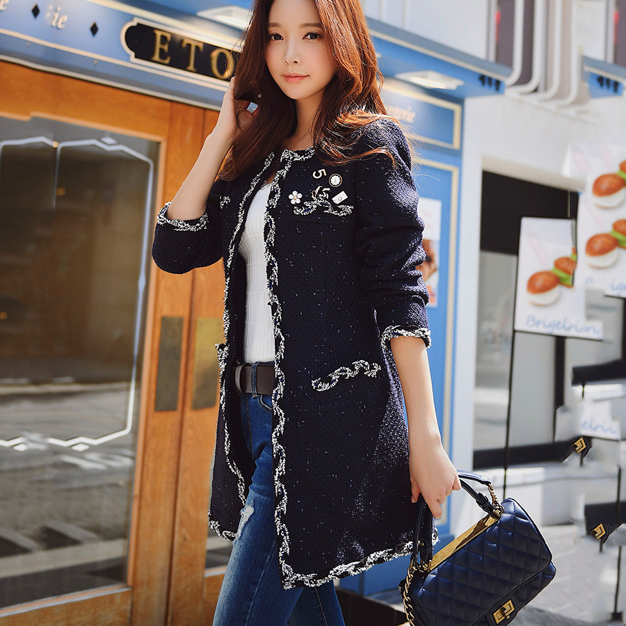 original 2018 brand abrigo mujer casual appliques navy blue fashion middle length elegant winter coat female wholesale