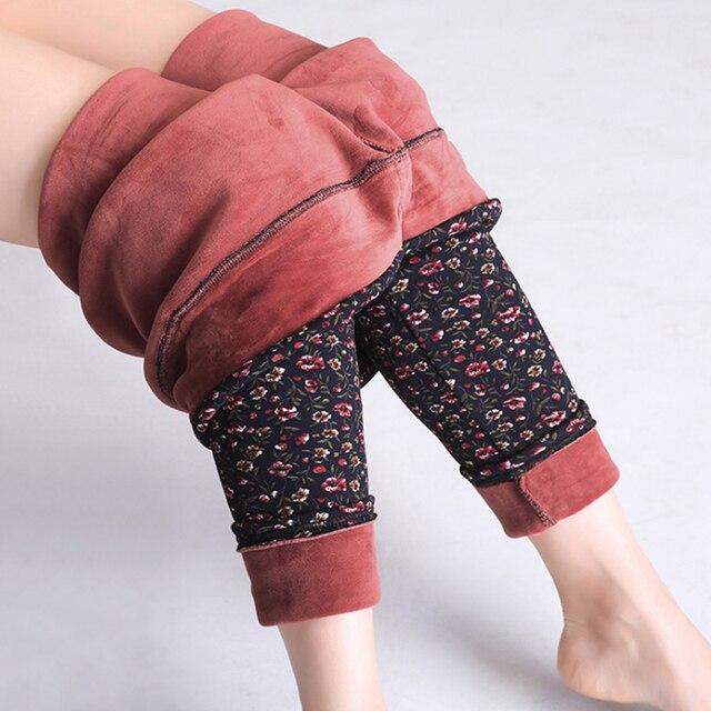 4420e47eeff46 Printed Leggings Fleece Lined Winter Plus Size Velvet Thickening Legging  Winter Stretch Lady Pants Women Trouser Female Leggins