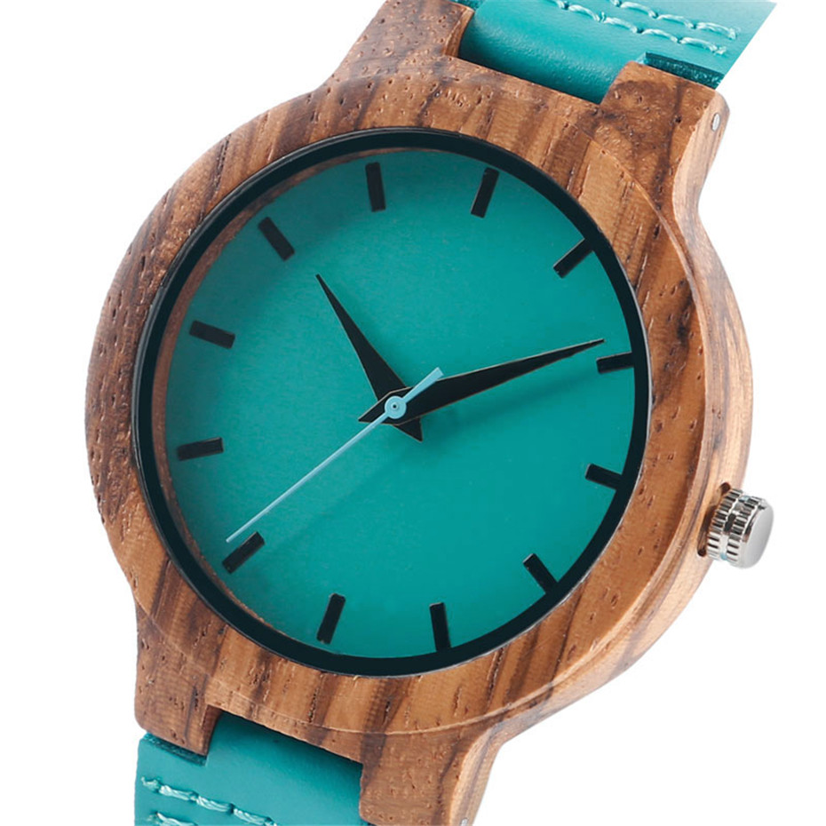 Fashion Blue Wood Quartz Watch Analog Genuine Leather Band Handmade Bamboo Wooden Wristwatch for Men Women Creative Gift Sport Clock (6)