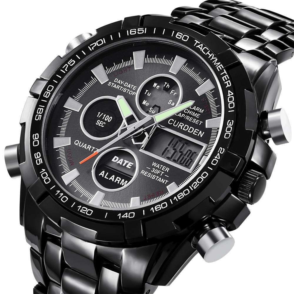 CURDDEN Digital Watches Dual-Time Original Chronograph Business-Watch Men Fashion Led